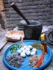 sebagian bahan bahan yang dibutuhkan untuk pembuatan jamu untuk ayam atau uanggas yang berada di peternakan menoreh breeder.